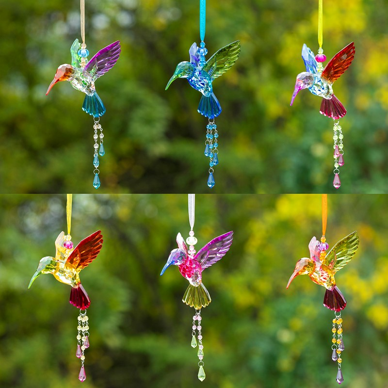 ASSORTED COLORS 5-TONE ACRYLIC HANGING HUMMINGBIRD ORNAMENT