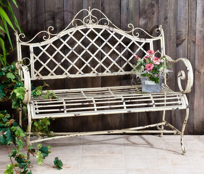 "IRON GARDEN BENCH ""STEPHANIA"" ANTIQUE WHITE COLOR FINISH"