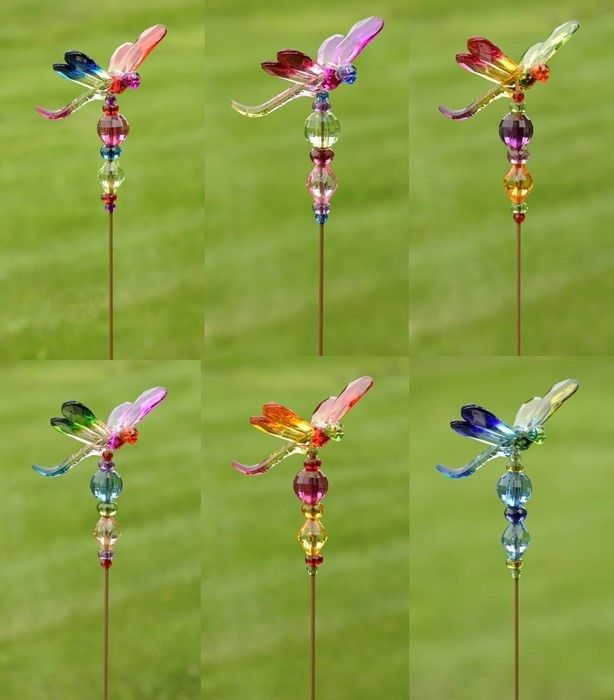 Five Tone Acrylic Dragonfly Pot Stakes in 6 Assorted Color Variations