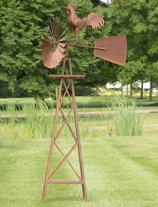 LARGE WINDMILL STAND WITH ROOSTER