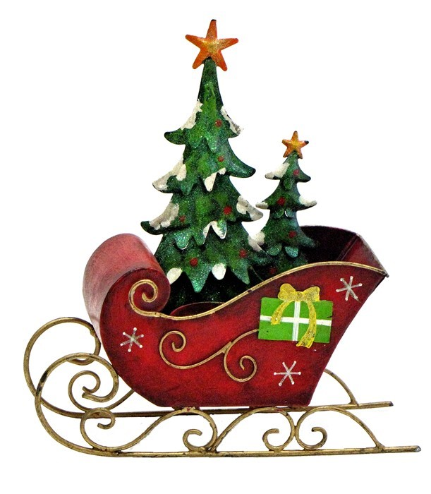 small iron christmas sleigh with the tree candle holder - Decorative Christmas Sleigh Large