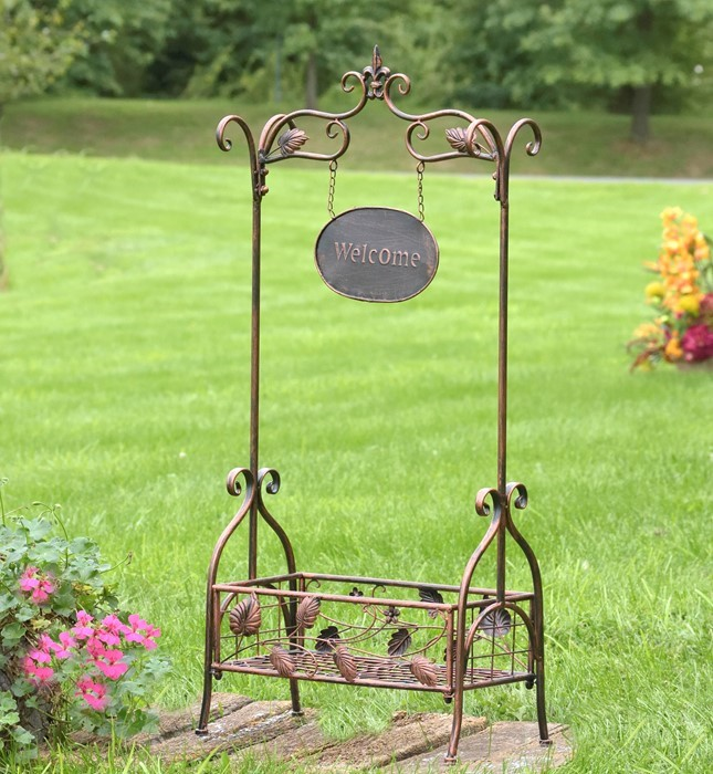 Rectangular Planter with Arch Welcome in Bronze