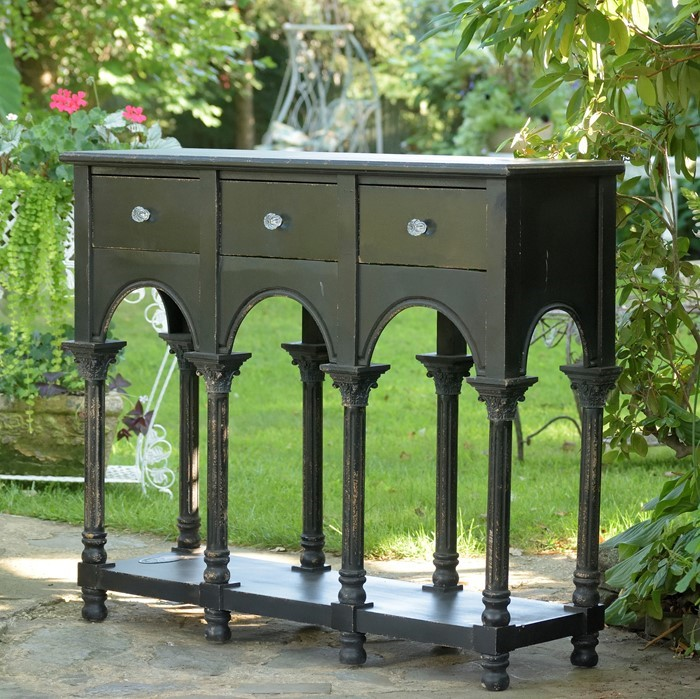 OLD FRENCH STYLE WOODEN CABINET BLACK FINISH