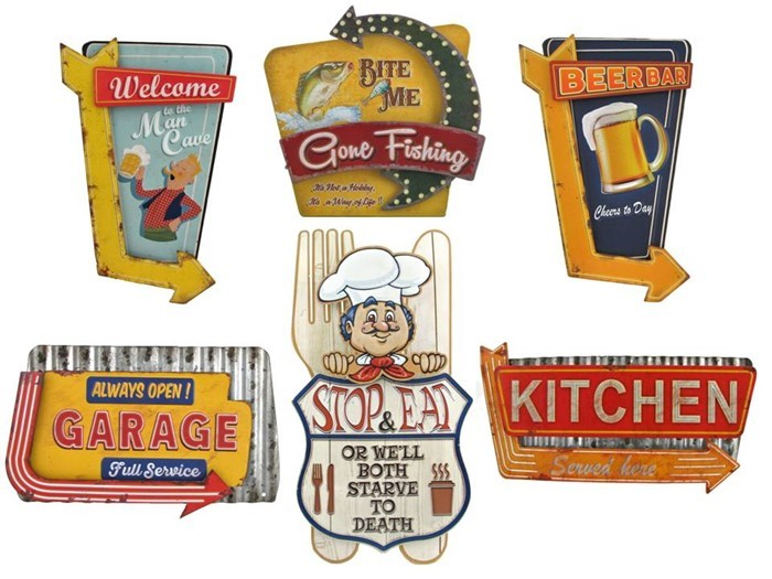 Set of 6 Assorted Vintage Restaurant Signs