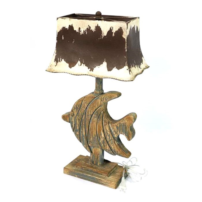 Wooden Fish Table Lamp