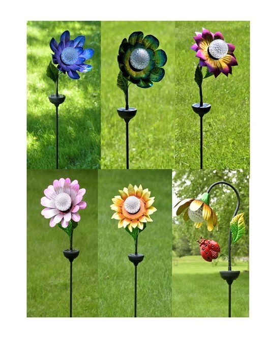 SET/6 ASST. COLOR IRON FLOWER STAKES W/SOLAR ROTATING LED LIGHTS
