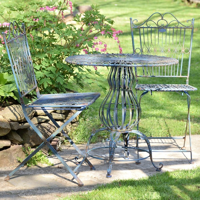 Metal Bistro Set with Two Folding Chairs & One Round Table in Cobalt Blue