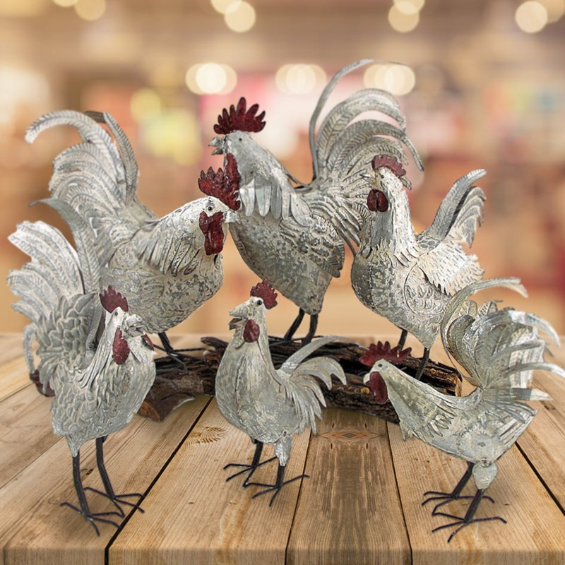 SET/6 ASSORTED STYLE GALVANIZED ROOSTERS