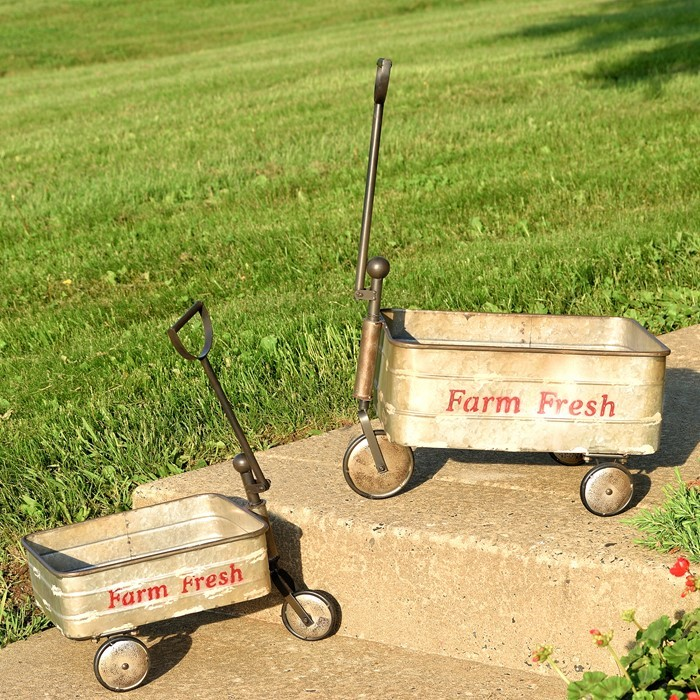 SET/2 OLD-STYLE GALVANIZED FARM CARTS W/ MOVING WHEELS AND HANDLE