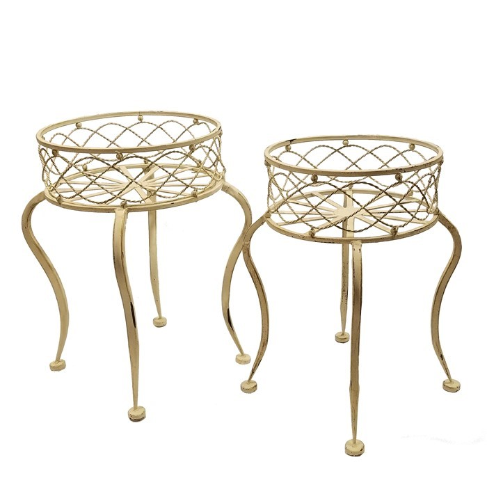 Set of 2 Iron Round Basket Plant Stands with Curved Legs in Antique White
