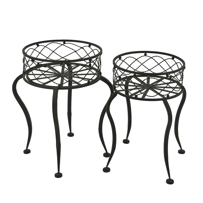 Set of 2 Iron Round Basket Plant Stands with Curved Legs in Rust