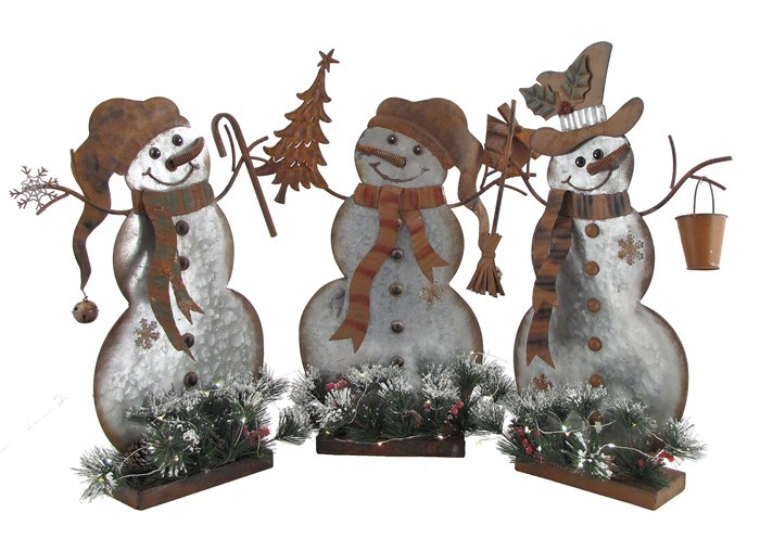 Set of 3 Galvanized Snowmen