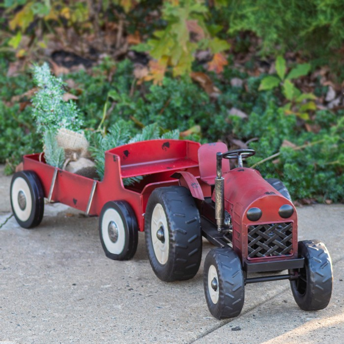 Set of 2 Red Tractor and Wagon with Christmas Tree