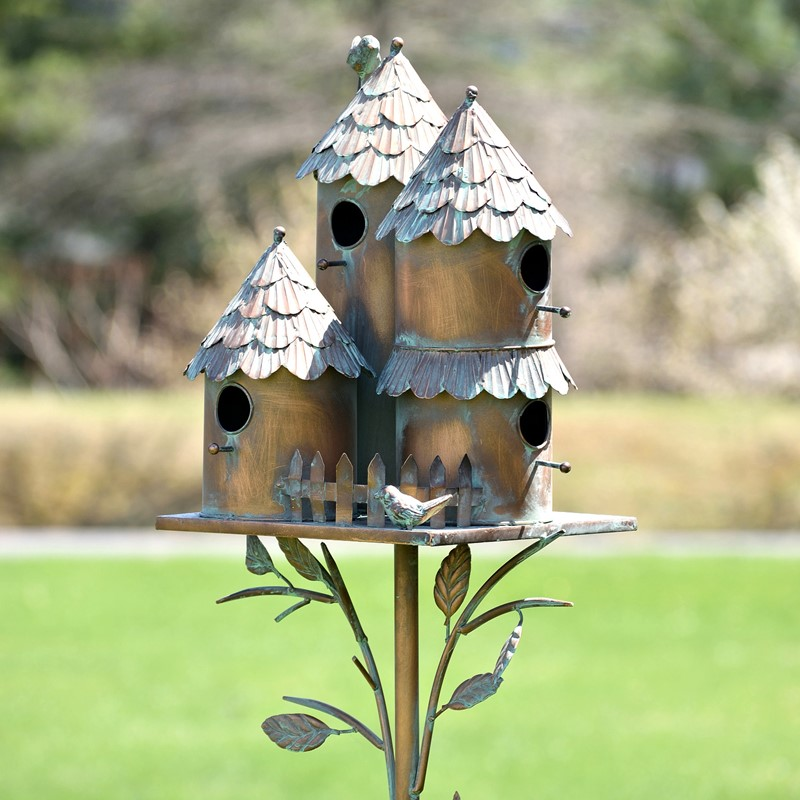 "Country Style Iron Birdhouse Stake ""Pipersville"""
