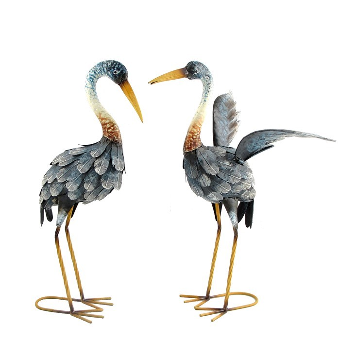 "20"" Tall Set of 2 Painted Blue Cranes"