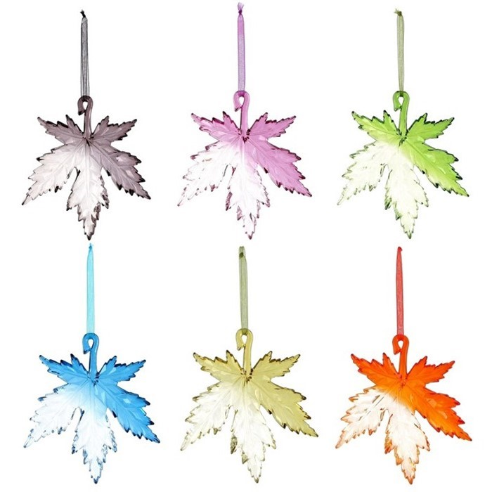 Acrylic Maple Leaf Hanging Ornaments in 6 Assorted Colors