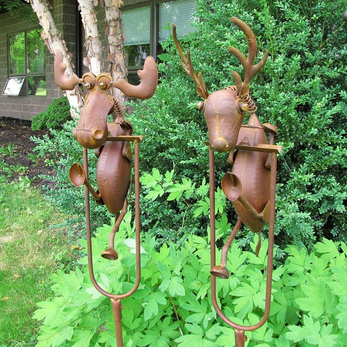 Set of 2 Rocking Moose and Reindeer Garden Stakes
