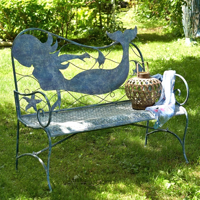 Coastal Iron Mermaid Bench