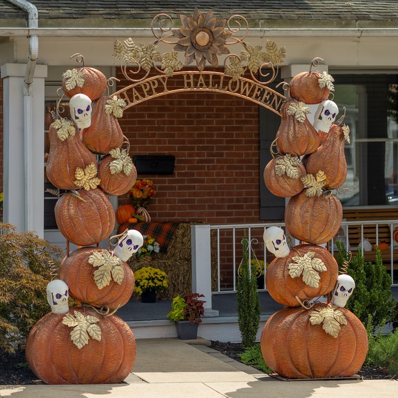 """Happy Halloween"" Arch with Pumpkins and Skeletons"