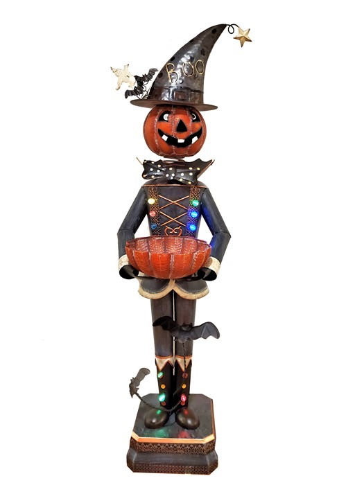 Metal Pumpkin Soldier Decoration and Candy Bowl