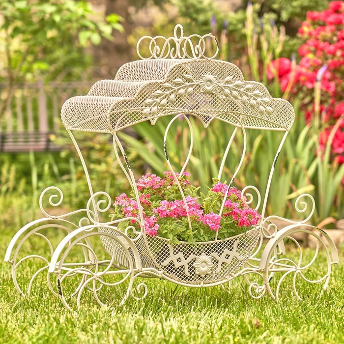 "Victorian Iron Cinderella Carriage Flower Stand ""Luciana"""