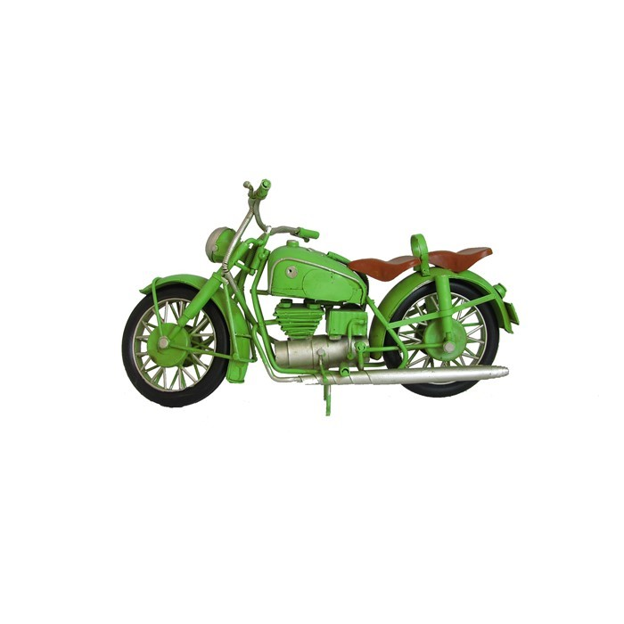 Vintage Style Iron Motorcycle Decoration in Army Green