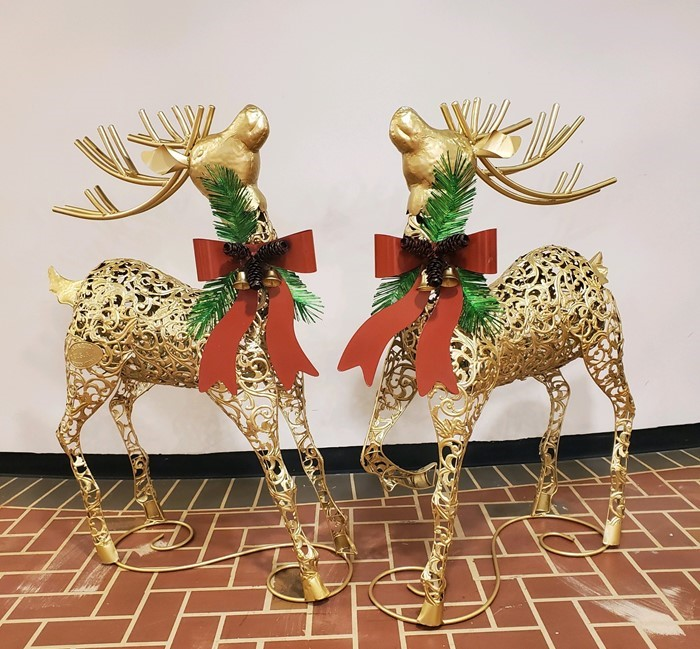 Set of 2 Galvanized Christmas Reindeer with Red Ribbon and Gold Bells