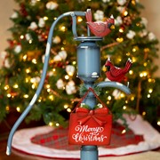 "Old Style Blue Iron Water Pump with ""Merry Christmas"" Sign and Cardinals"