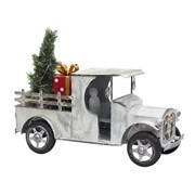 Old Style Galvanized Pickup Truck with Lighted Christmas Tree & Gift Boxes