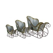 Set of 3 Galvanized Sleighs with Christmas Tree & Snowflake Paintings