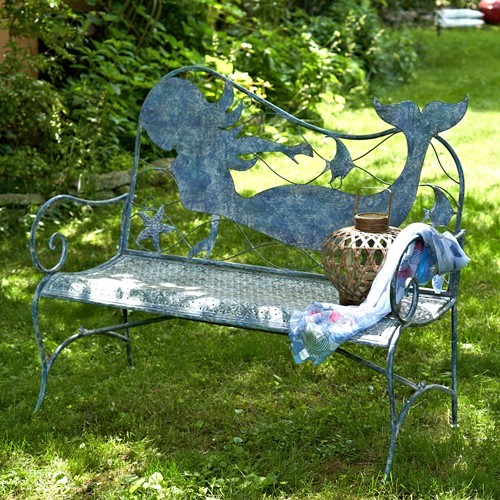 Superb Coastal Iron Mermaid Bench Gmtry Best Dining Table And Chair Ideas Images Gmtryco