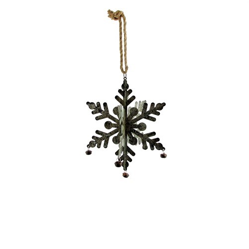 Set of 6 Hanging Galvanized Folding Snowflakes with Bells