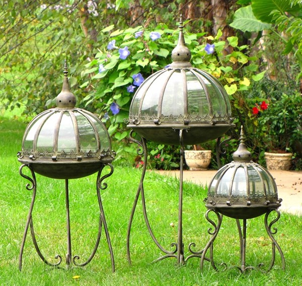 Set of 3 Glass Dome Terrariums on Stands with Antique Finish