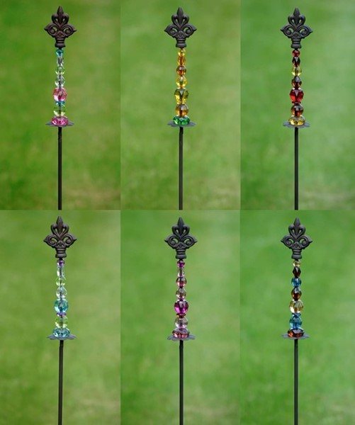 Fleur-de-lis Iron Garden Stake with Assorted Color Acrylic Beads