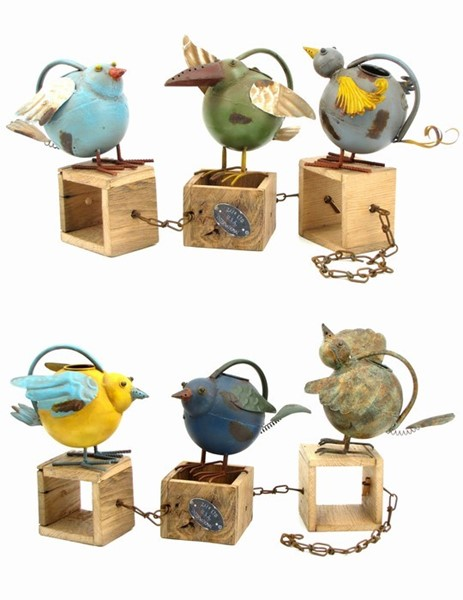 SET/6 WATERING CANS W/BIRDS