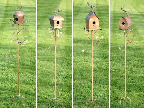 Set of 4 Assorted Style Iron Copper Finished Birdhouse Garden Stakes