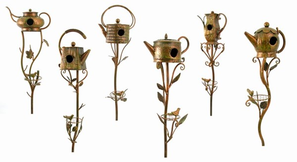Set of 6 Assorted Style Teapot Birdhouse Garden Stakes