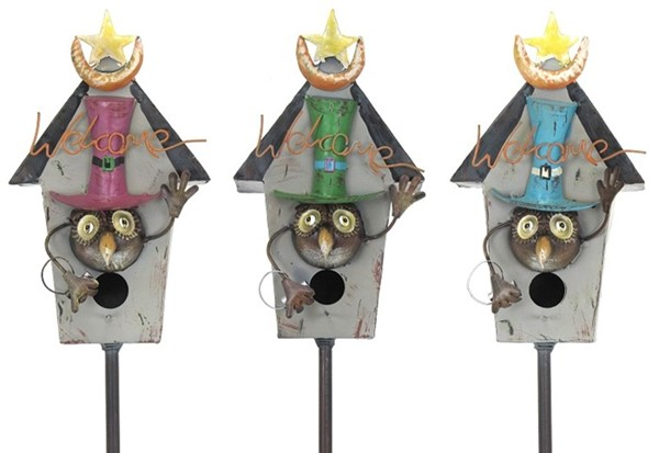 Set of 3 Birdhouse Garden Stakes with Owls