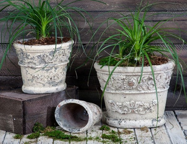 SET/3 OVAL CERAMIC FLOWER PLANTERS