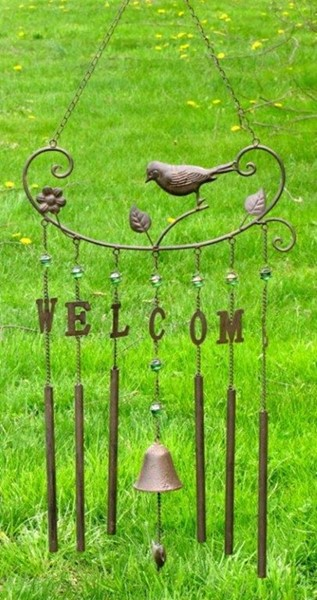 """Welcome"" Copper Wind Chime with Bird"