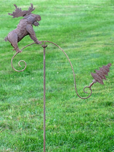 Moose and Christmas Tree Rustic Balance Garden Stake
