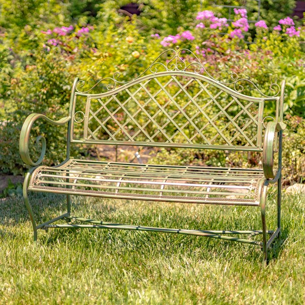 "Iron Garden Bench ""Stephania"" in Antique Green Finish"
