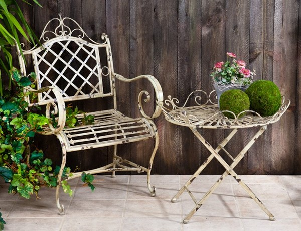 "Garden Armchair ""Stephania"" in Antique Green"