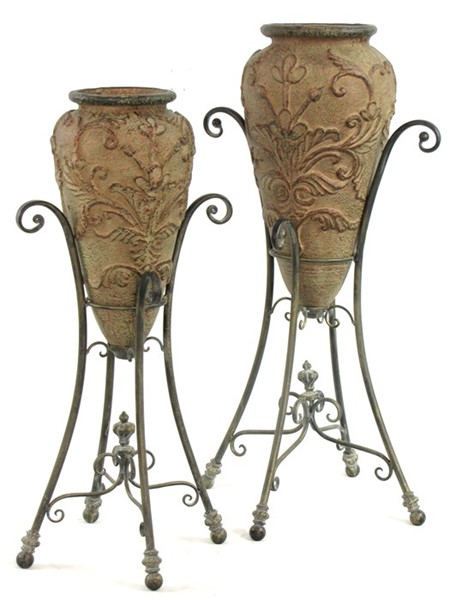 Set of 2 Magnesium Urns with Iron Stands