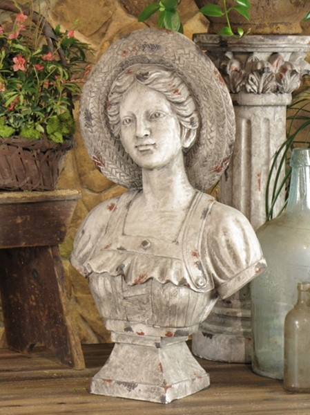 "26.5"" Tall French Country Girl Bust with Hat"