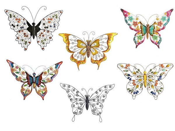Set of 6 Assorted Wall Butterflies with Pastel Colored Acrylic Beads