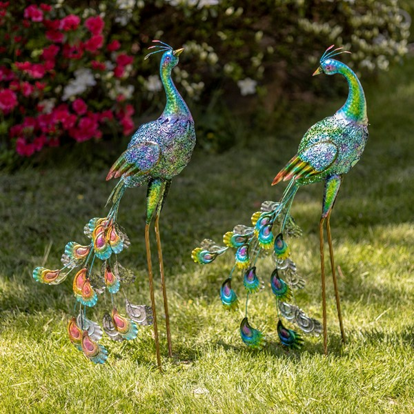 Set of 2 Standing Colorful Iron Peacocks