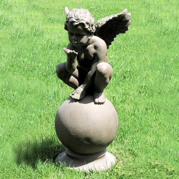 "24"" T. Sitting Cherub Blowing Kisses Statue"