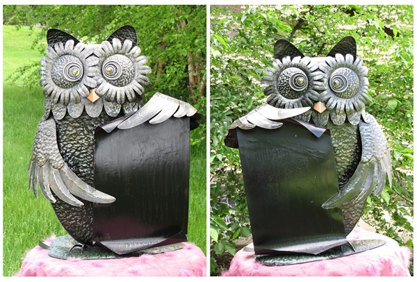 Set of 2 Funny Iron Owls Holding a Scroll