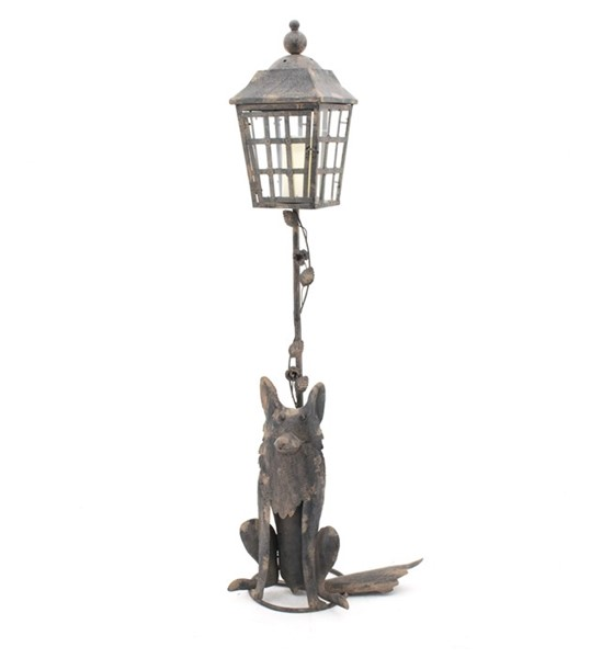 "55"" Iron Lamp Post with Fox Base"